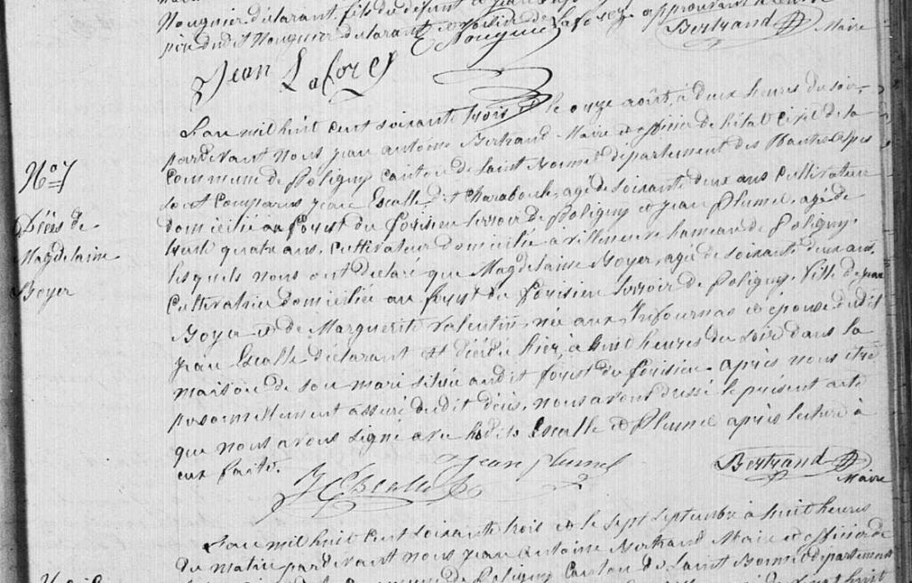 Décès Magdelaine Boyer.. épouse de Jean Etienne Escale