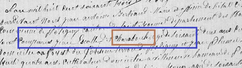 Décès Magdelaine Boyer.. épouse de Jean Etienne Escale Surligné charaboule